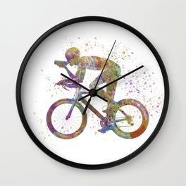 Cyclist competing 01 in watercolor Wall Clock