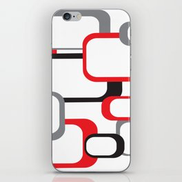 Red Black Gray Retro Square Pattern White iPhone Skin