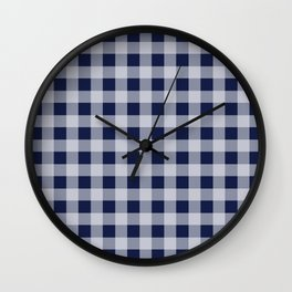 Flannel Plaid Check Navy Blue Wall Clock