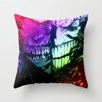 joker Throw Pillows featuring joker by DeMoose_Art