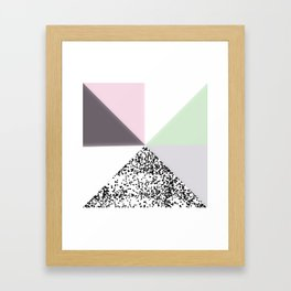 Geometrical black confetti pastel color block Framed Art Print