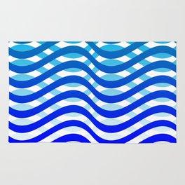 Waving Blue Pattern Rug