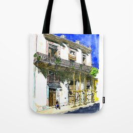 Man Sitting in Front of His House, Habana Vieja, Cuba Tote Bag