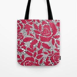 Red grey lace lace Tote Bag