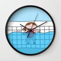 pool Wall Clocks featuring Pool by oekie
