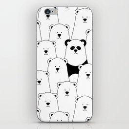 Polar bear and panda cartoon iPhone Skin