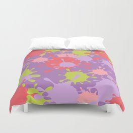 Paint Splatter-Purple+Pink+Green Duvet Cover
