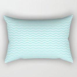 Aqua Belle and White Chevron Wave Wavy ZigZag Stripes Rectangular Pillow
