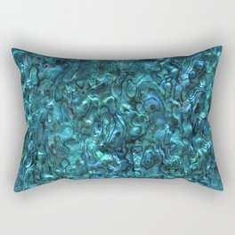 Abalone Shell | Paua Shell | Cyan Blue Tint Rectangular Pillow