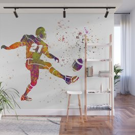 American football player in watercolor 33 Wall Mural