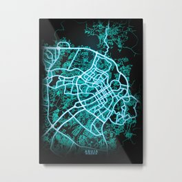 Abuja, Nigeria, Blue, White, Neon, Glow, City, Map Metal Print