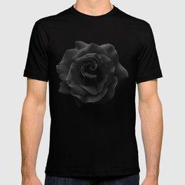Single Large High Resolution Black Rose. T-shirt