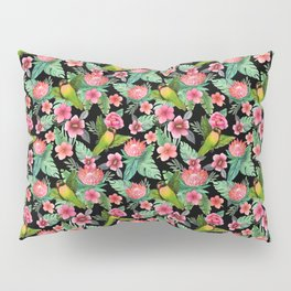 Tropical Palm Lovebird Floral Pillow Sham
