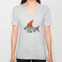 Goldfish with a Shark Fin Unisex V-Neck