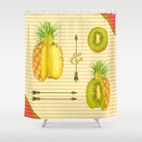 pasta Shower Curtains featuring what if a pineapple fall in love with a kiwi ? by AmDuf