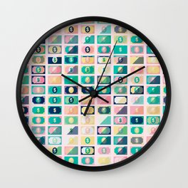 Dollar Pattern 60s Wall Clock