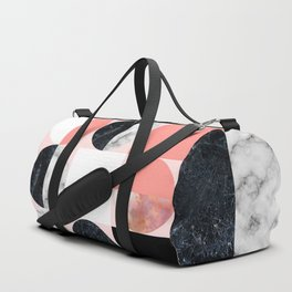 Mid Modern Moon and Sun Marble Pattern - living coral Duffle Bag