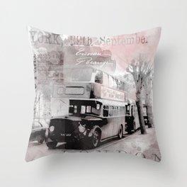 Vintage England London Britain Illustration Pastel Colors Throw Pillow