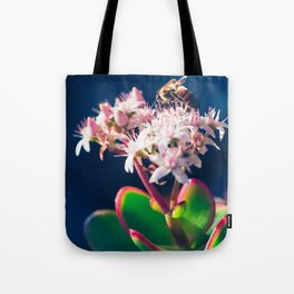 Crassula ovata Jade Flowers and Honey Bee Kula Maui Hawaii Tote Bag