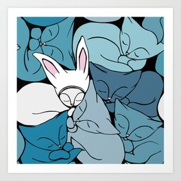 Teal Curled Up Bunny Cats Art Print