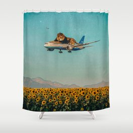 Lion on a plane Shower Curtain
