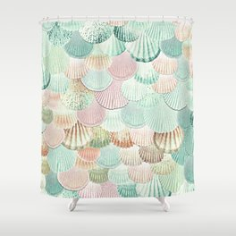 MERMAID SHELLS - MINT & ROSEGOLD Shower Curtain