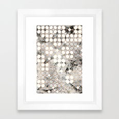 Rose Gold and Marble Geometric Tile Pattern Framed Art Print