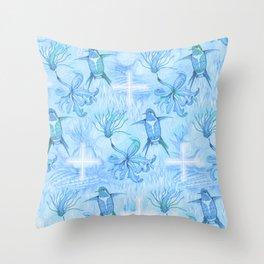 Colibri Flor Damask Throw Pillow
