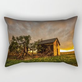 Basking in the Glow - Old Barn In Warm Sunlight in Oklahoma Rectangular Pillow