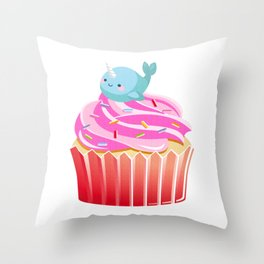 Cute Narwhal T-shirt Cupcake Lovers Tee Throw Pillow