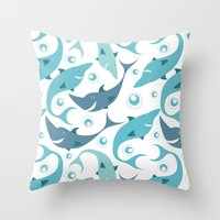 sharks Throw Pillows featuring Sharks by Julia Badeeva