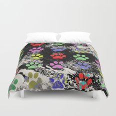 Paw Prints Pattern III - Textured Duvet Cover