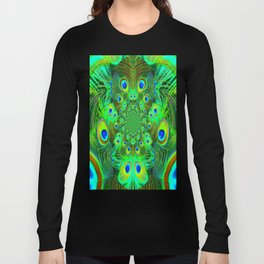 Ornate Green-Gold-Purple Peacock Feathers Art Long Sleeve T-shirt