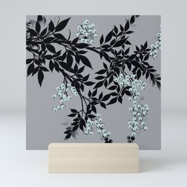 TREE BRANCHES BLACK AND GRAY WITH BLUE BERRIES Mini Art Print