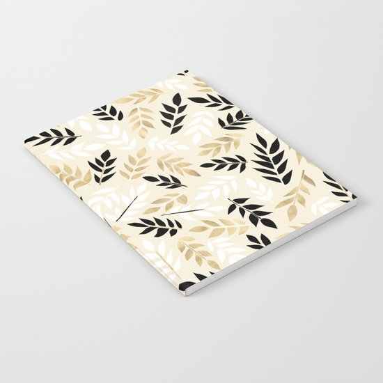 Black, White & Gold Fronds Notebook