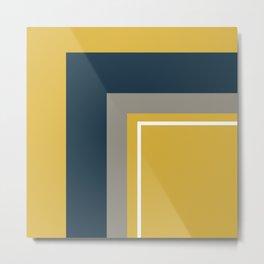 Half Frame Minimalist Pattern 3 in Deep Mustard Yellow, Navy Blue, Grey, and White. Metal Print