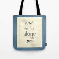 home sweet home Tote Bags featuring Home by Brandy Coleman Ford