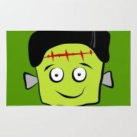 frankenstein Area & Throw Rugs featuring Frankenstein by Jessica Slater Design & Illustration