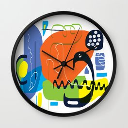 Funky Orange Composition Wall Clock