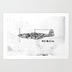 North American P51 Mustang (black) Art Print