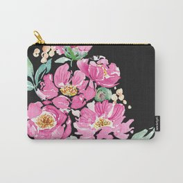 Pink and Black Peony Carry-All Pouch