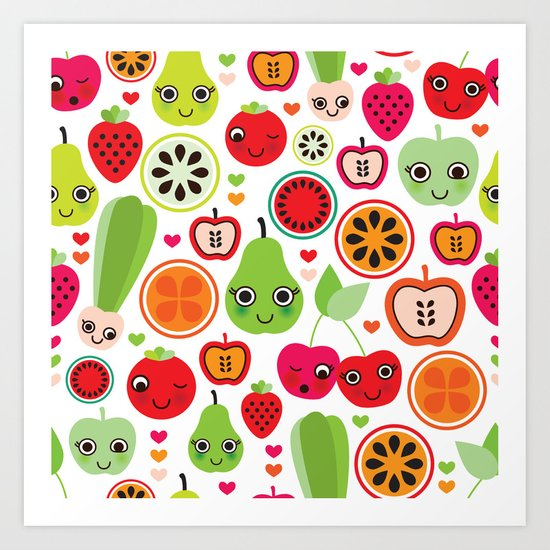 Colorful fruit cartoon characters illustration pattern Art Print