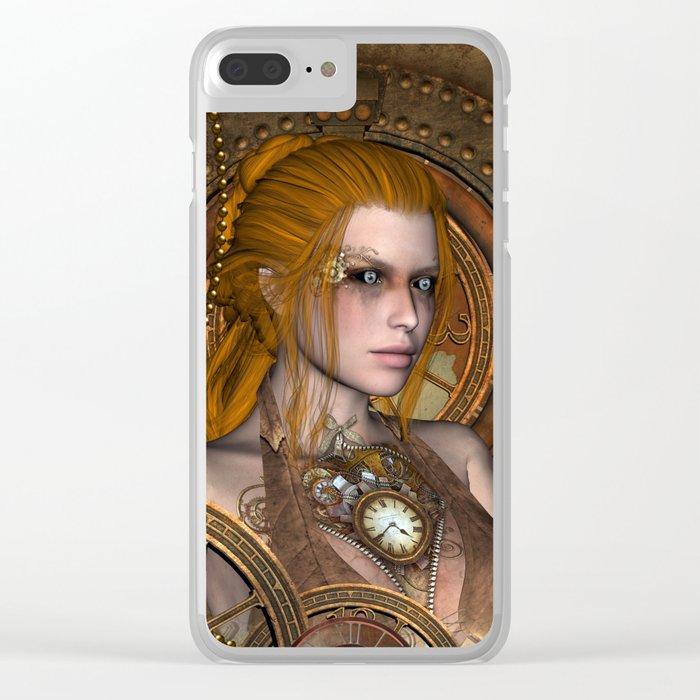 Steampunk, amazing steampunk women Clear iPhone Case