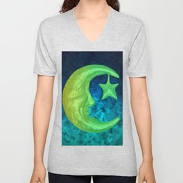 Magical Shining Half Moon with Star Unisex V-Neck