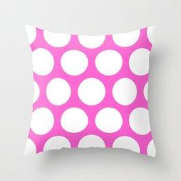 Pink Large Polka Dots Throw Pillow