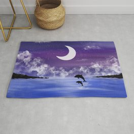 night time seascape with jumping dolphins Rug