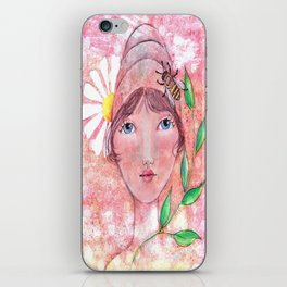 Whimiscal Girl with Bee Hive Hat iPhone Skin