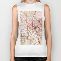 dallas Biker Tanks featuring Dallas by MapMapMaps.Watercolors