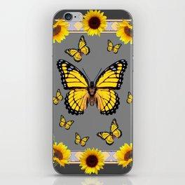 YELLOW MONARCH BUTTERFLIES SUNFLOWER ART iPhone Skin