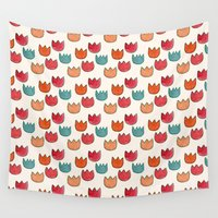 tulips Wall Tapestries featuring tulips by serenita